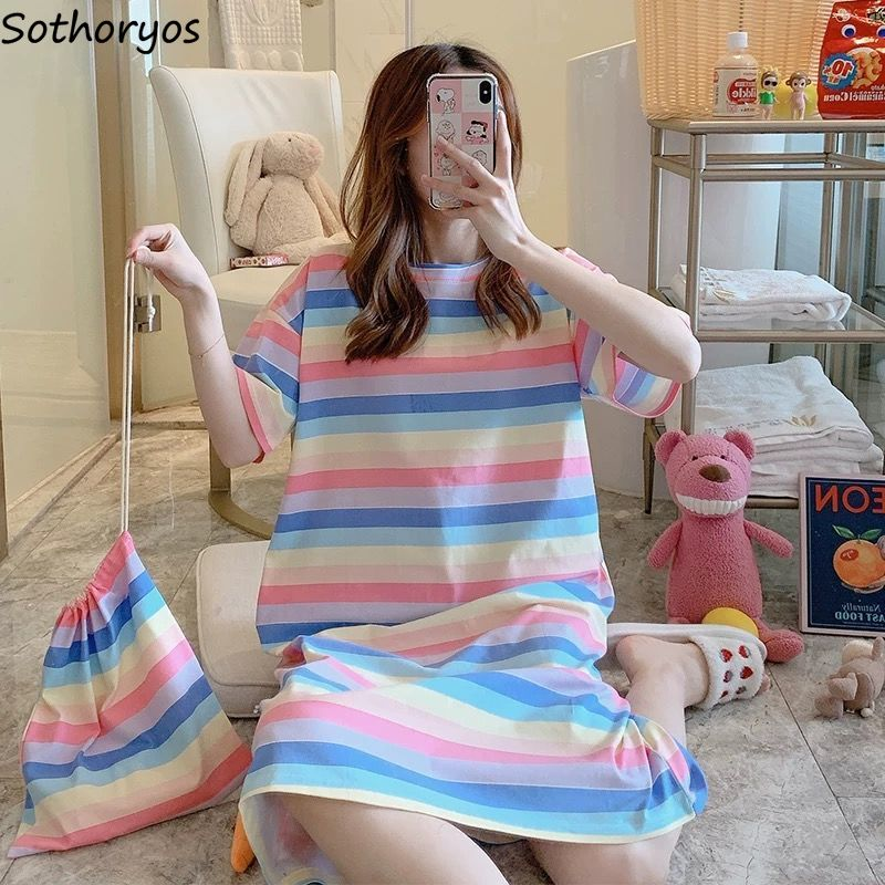 Nightgowns Women Summer Mid-calf 2XL Printed Kawaii Sleepwear Stretchy Students Simple Elegant Korean Style Trendy Outwear New
