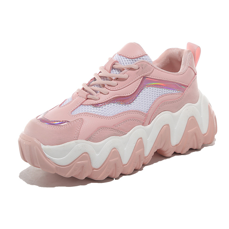 SWYIVY Mesh Breathable Casual Shoes Women Sneakers Platform Flats Ladies Lace-Up Vulcanized Shoes Thick Bottom Chunky Sneakers