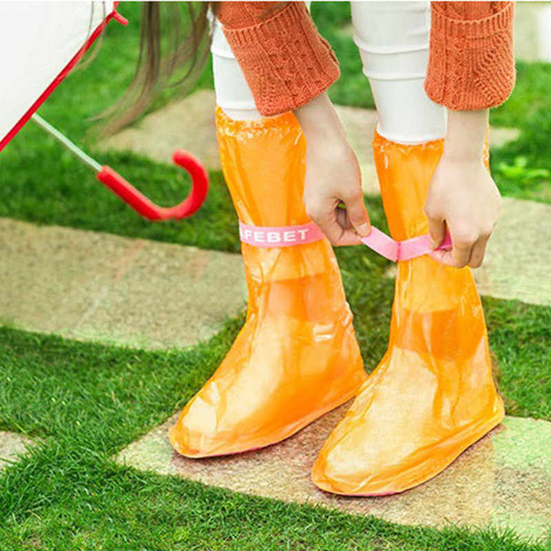 1pair Rain Shoe Covers Ribbon High-Top Anti-Slip Rain Shoes Case Unisex Waterproof Protector Shoes Boot Cover Reusable Thicken