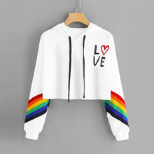 Fashion Female Long Sleeve Hoodie Pullover Sweatshirt Rainbow Letter Print Women's Sweatshirt Tops Ladies Clothes Felpe Donna(China)