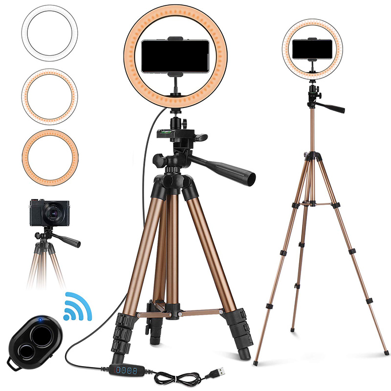 10 Inch Selfie Ring Light With 50 Inch Tripod Stand & Phone Holder For Makeup Live Stream, LED Camera Ring Light With Remote Shu