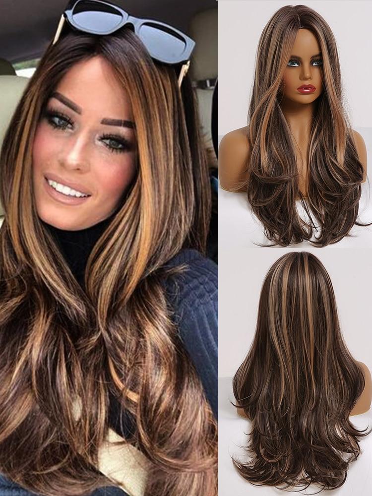 Wavy Wig Highlights Louis Ferre Middle-Part Brown Cosplay Black Honey Long Women Heat-Resistant