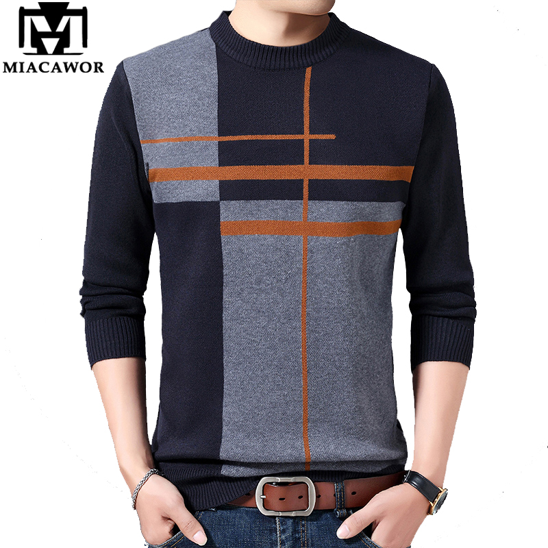 MIACAWOR Winter Men Sweater Patchwork Casual Pullover Male Warm Wool Sweaters Pull Homme Fashion Men Clothes Plus Size 4XL Y181