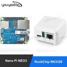 Porto ethernet 1gb/2gb ddr4 ram openwrt/ubuntu nanopi neo2 placa de desenvolvimento de friendlyelec nanopi neo3 mini (sbc) rk3328 gigabit