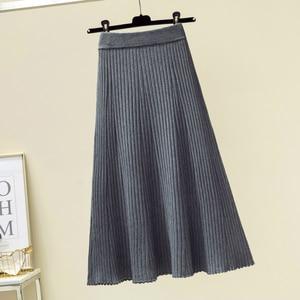 Image 2 - Женская длинная юбка в рубчик, зимняя утепленная трапециевидная юбка из смеси кашемира, плиссированная плотная вязаная юбка до середины икры, Осень зима