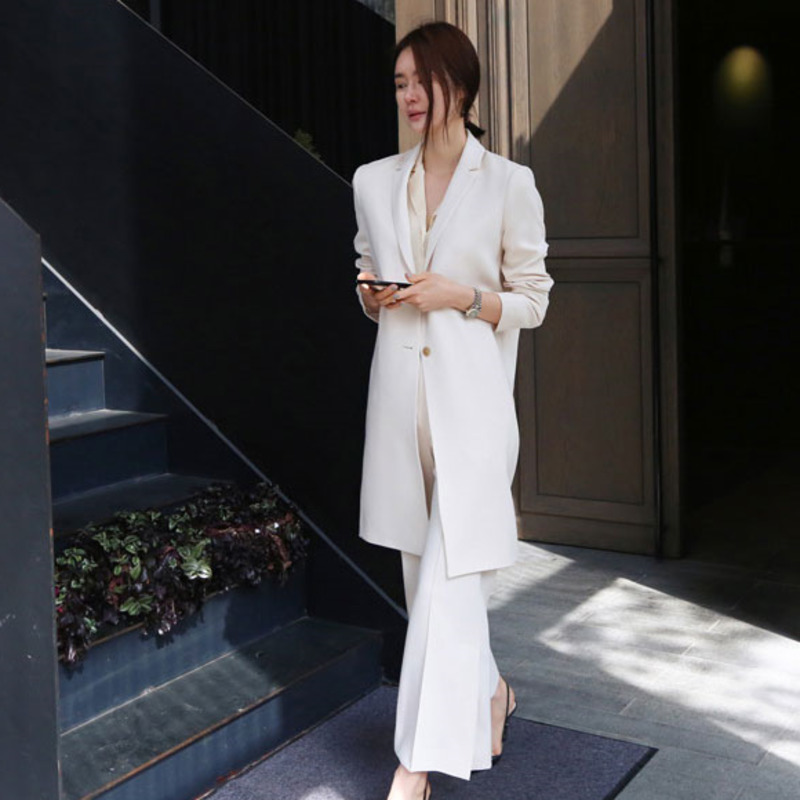 LANMREM Solid Color Long Sleeve Single-breasted Woman Ladies Office Blazer Trousers Suit Simple Fashion 2020 Spring New TV329