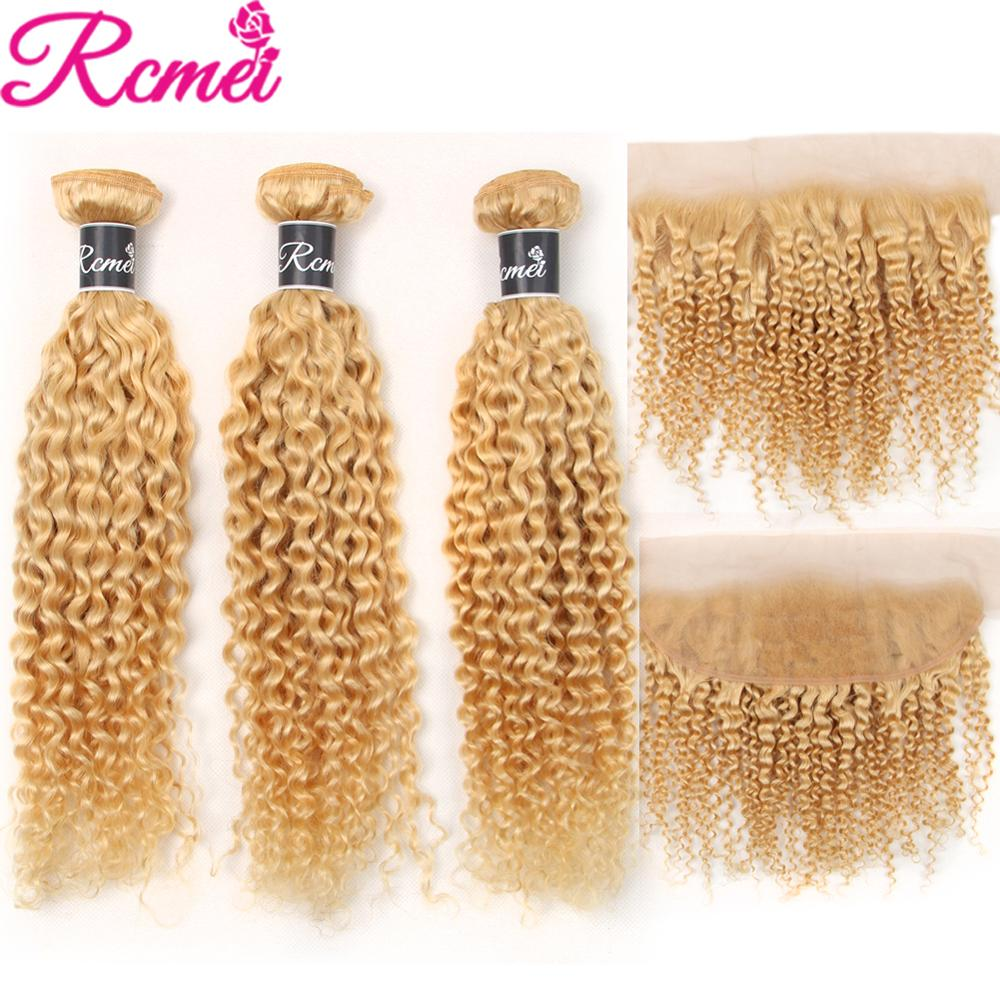 Rcmei Pre-Color Peruvian Hair Weave 613 Blonde Kinky Curly 4PCS Blonde Bundles With Frontal Remy Human Hair Extension image