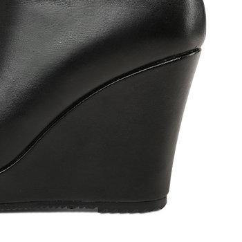 ENMAYLA 2020 Fashion Genuine Leather Round Toe Leather Boots Women Wedges Heels Basic Women Shoes Zip Winter Boots Women 34-40 2
