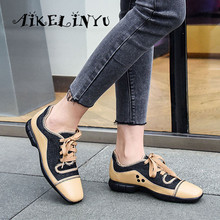 AIKELINYU Top Quality Handmade Woman Flats Comfortable Sheepskin Casual Shoes Round Toe Low Heel Color block lace-up Lady Flats skyyue new genuine leather lace up women casual flats top quality brand round toe comfortable flats shoes women