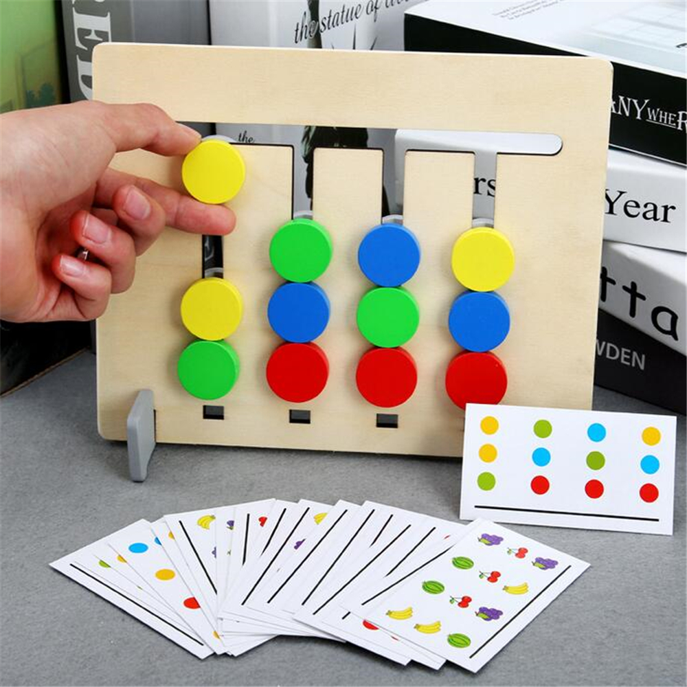 Baby Four-Color/Fruit Matching Game Montessori Wooden Toys For Kids Logic 2 Side Child Logic Mathematics Educational Toys Gift