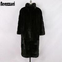 Nerazzurri black long real mink fur coat long sleeve stand collar puls size whole mink jacket thick warm winter mink coats women