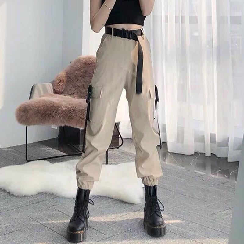EACHIN Fashion Women Self Belted Elastic Waist Cargo Pants Female Loose Streetwear Pants Casual Plus Size Korean Style Trousers