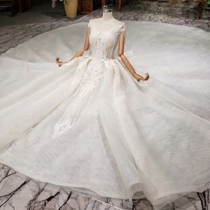 Image 4 - HTL990 lace wedding dress in Wedding Dresses o neck short sleeved bead wedding gowns with tail illusion back vestidos de noivas