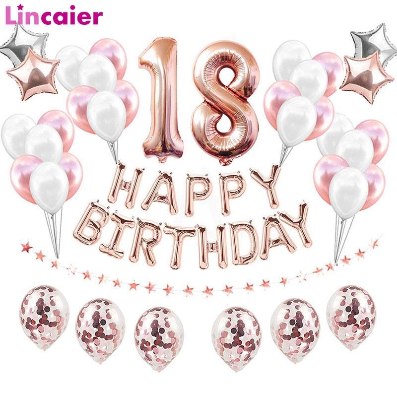 38 pçs número 18 balões de aniversário 18th feliz aniversário 18 anos de idade decorações de festa rosa ouro rosa prata menino menina suprimentos
