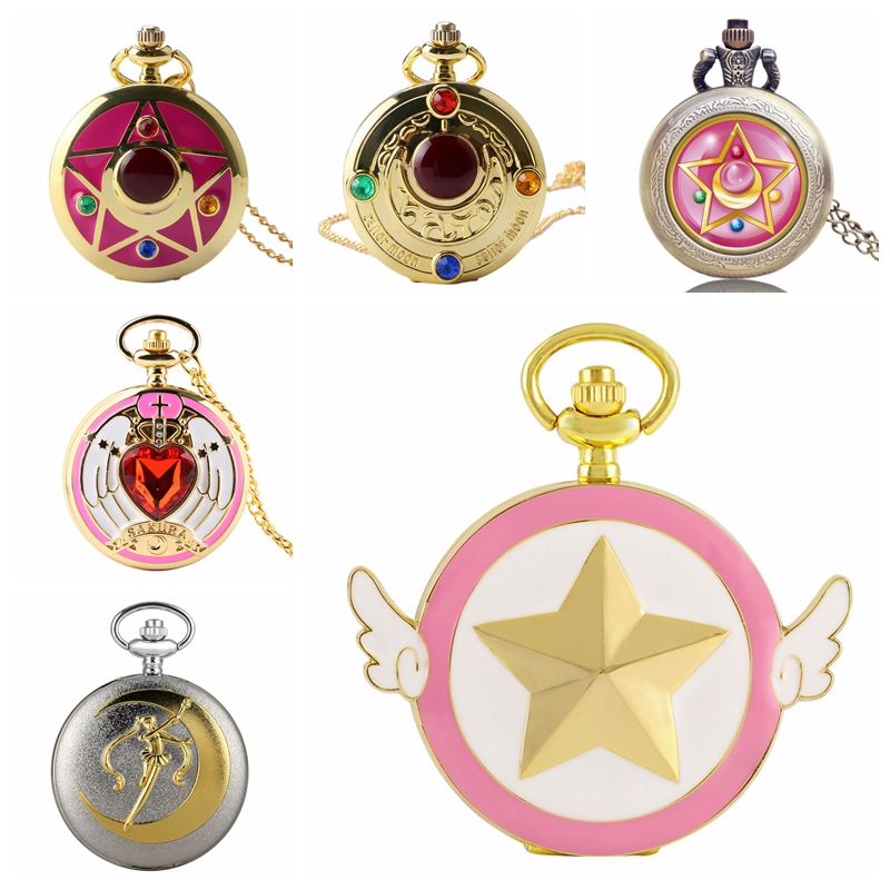 Luxury Fashion Quartz Pocket Watch Anime Cosplay Sailor Moon Theme Necklace Pendant Ladies Womens Girls Chain Watch Top Gifts