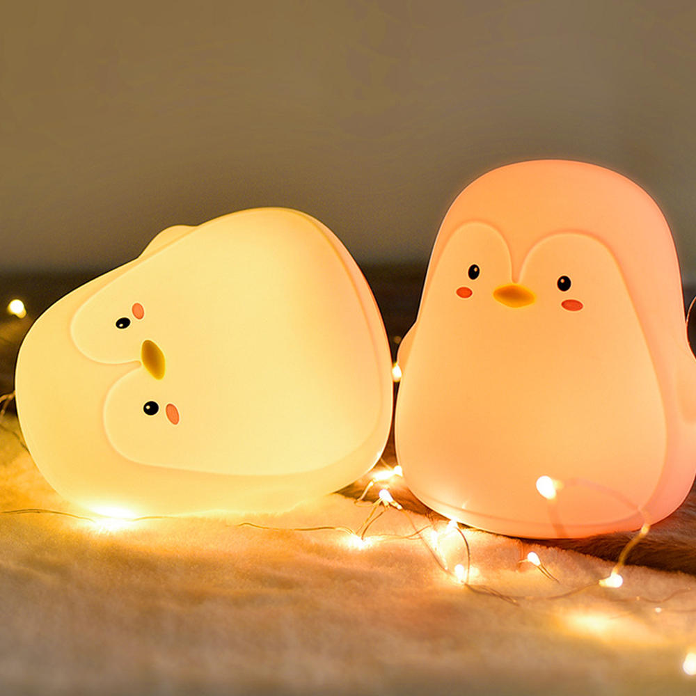 Night Light Rechargeable Penguin Silicone Touch Sensor 7 Colors USB Charging LED Night Lamp For Children Baby Christmas Gift