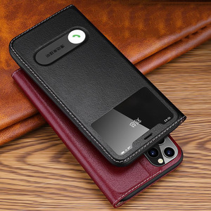 Image 2 - Caso para iphone 11 capa de couro genuíno capa de luxo para iphone 11 pro max capa flip janela ver casos de telefone com suporte