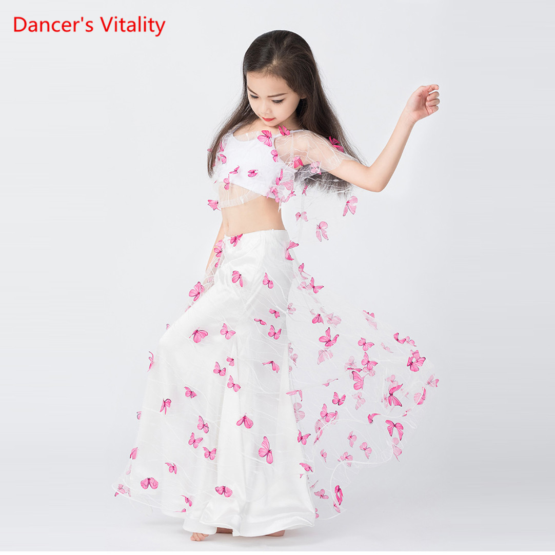 Professional Belly Dance Costume Girls Children Oriental Dance Performance Skirt Side Slit 2 Piece Show Wear Butterfly Decorated