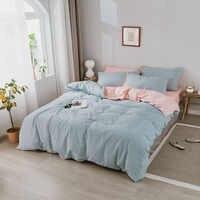 Juego de cama de moda Alanna Algodón puro A/B doble cara patrón simplicidad sábana, funda de edredón funda de almohada 4-7 piezas
