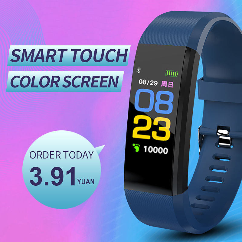 Buy 115 Plus Smart Bracelet Sport Fitness tracker Watch Smartband  Blood Pressure Heart Rate Monitor Smart band Wristband Men for only 22 USD