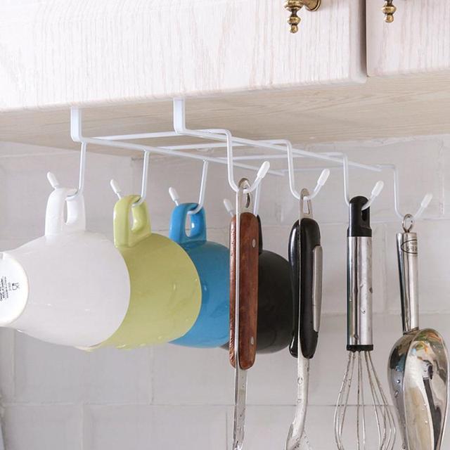 Double 8 Hooks Mug Coffee Cup Under Shelf Metal Hanger Storage Rack Kitchen Cupboard Holders Paper Holders Kitchen Accessories