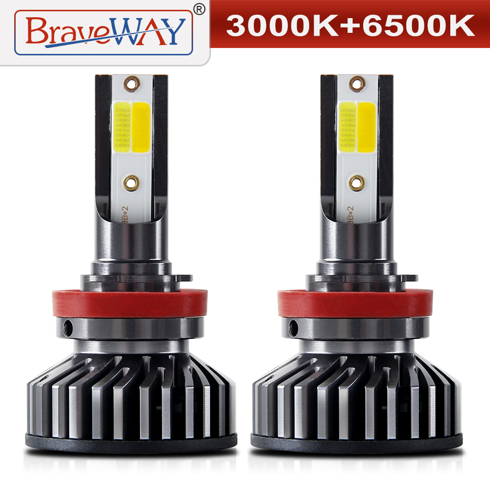 BraveWay 3000K + 6500K Super Led Bulbs H7 H11 Led Dual Color Headlight Bulb 12V 10000LM 9005 9006 HB3 HB4 H8 H11 LED Fog Lamps
