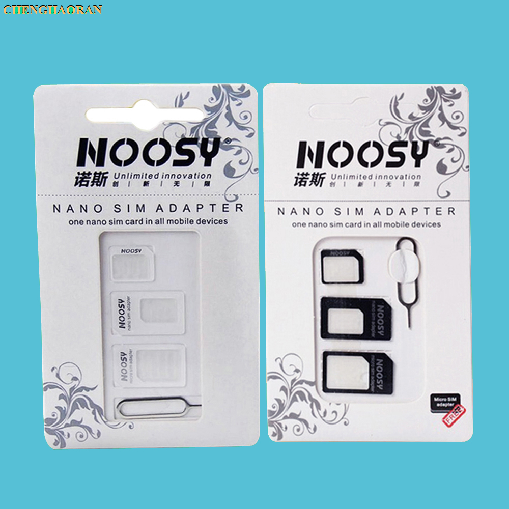 1000sets(4000pcs) 4 In 1 Noosy Nano Micro SIM Card Adapter Eject Pin For IPhone 5 5S For IPhone 6 6plus 7 7plus With Retail Box