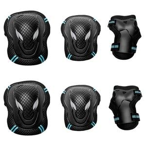 6 шт. детский набор подушечек, Детский комплект защитных наколенников для катания на роликовых коньках черный + синий