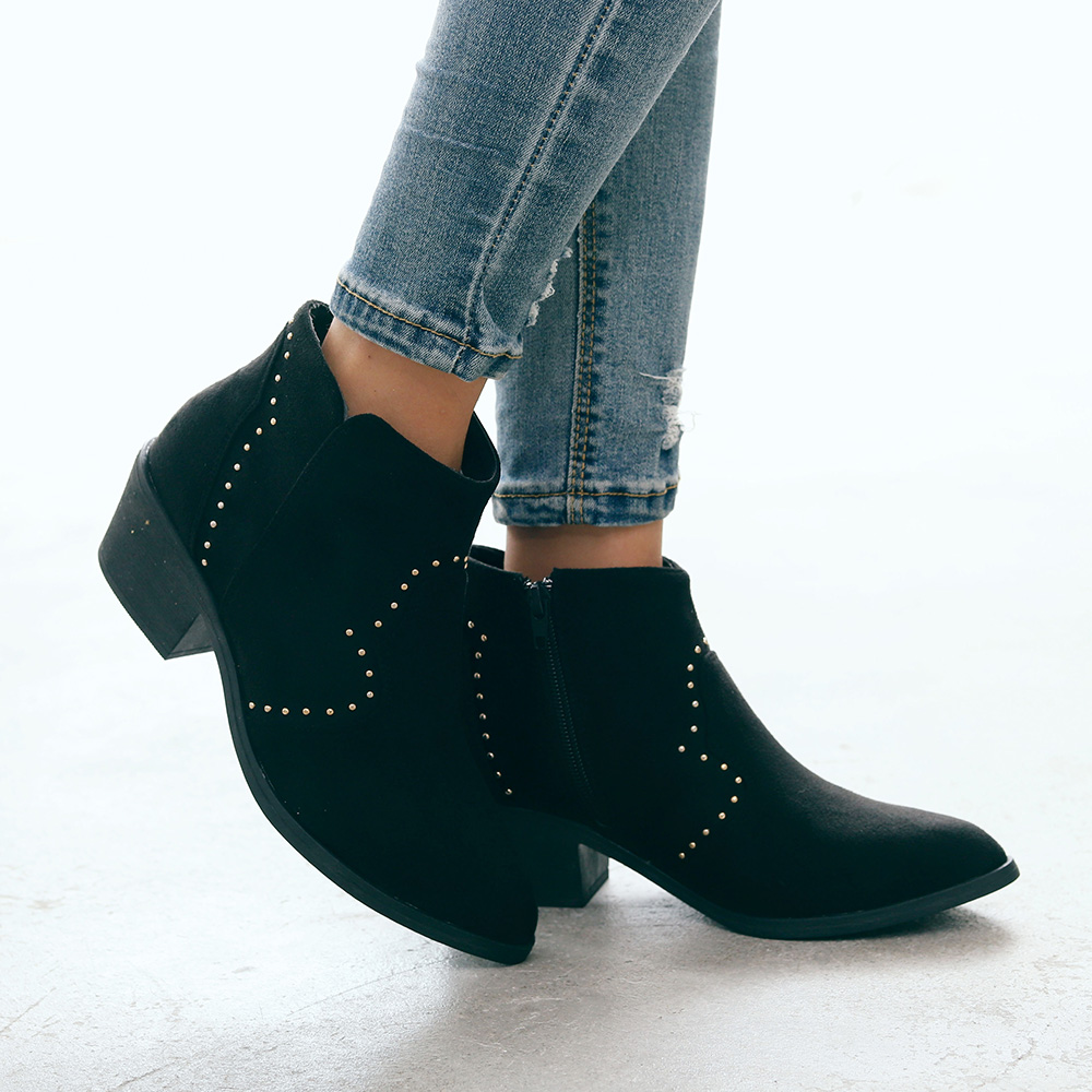 Women Chelsea Ankle Bootie Boots Ladies Low Mid Heel Western-Style Slip On Shoes