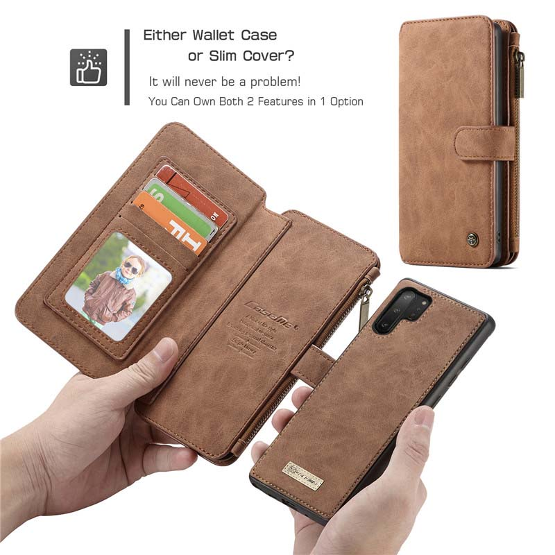 Original CaseMe 2 in 1 Zipper Wallet Leather Phone Case For Samsung Galaxy Note10 Note10Plus Case Vintage Mobile Bag KS0296 in Flip Cases from Cellphones Telecommunications