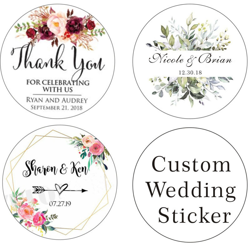 100PCS Custom Stickers/Wedding Stickers Printed LOGO Transparent Clear Adhesive Round Label Gift Tags Party Decorations Paper