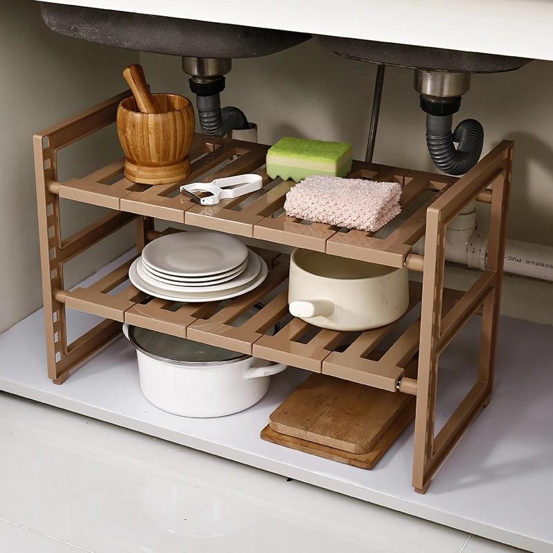 adjustable kitchen storage rack expandable bathroom cabinet shelves under sink shelf kitchenware organizer shoe holder