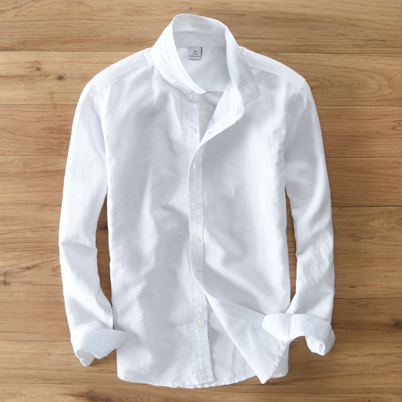 Cotton And Linen Brand Shirt Men Long Sleeve Autumn And Summer Shirts For Men Fashion Casual White Shirts Male Chemise Camisa