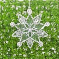Decoración de árbol de Navidad con copos de nieve transparente, guirnalda colgante, fabricación de colgantes, decoración de fiesta de año nuevo, 2 uds.