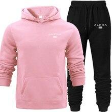 Unisex Pink Fleece Hoodies Long Pants Set Autumn ALPHA Hooded 2019 New Warm Outwear Light Pullover Sweat Wear