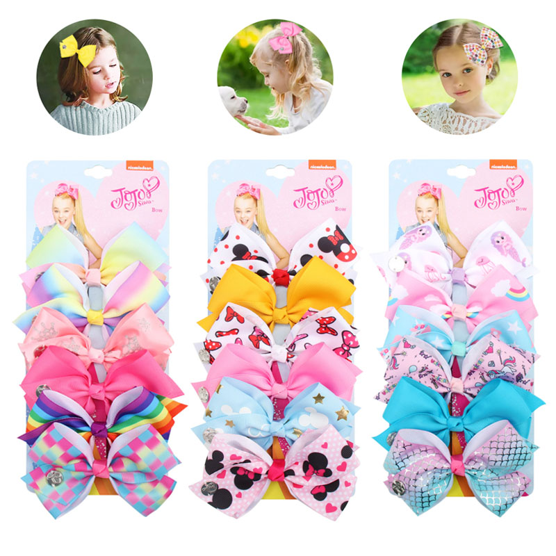 JoJo Siwa Hair Bows 7/'/' Large Rainbow Printed Leather Bowknot Hairgrips for Girl