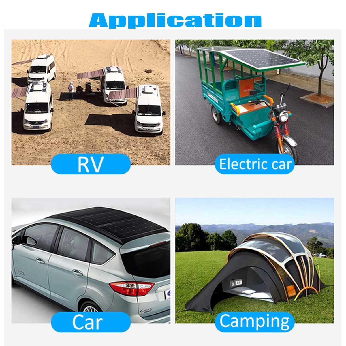 100W 18V Mono Solar Panel USB 12 V/5 V CC monocristalino Flexible Cargador Solar para coche RV barco cargador de batería impermeable - 6