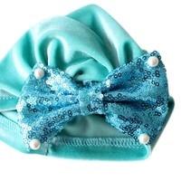 Infant Fashion Headband Baby Girl Pearl Sequins Design Bowknot Elastic Hats Turban Cap Cute Soft Infant Hair Accessories