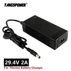 Ładowarka akumulatorów litowych 29.4V 2A do 24V 25.2V 25.9V skuter elektryczny rower elektryczny 7 serii li-ion ładowarka