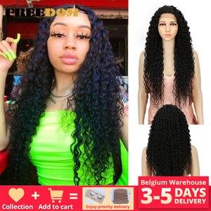 Image 1 - FREIHEIT Haar Spitze Front Ombre Blonde Perücke 30 Inch Lange Wellenförmige African american Synthetische Perücken Farben Erhältlich Kostenloser Versand
