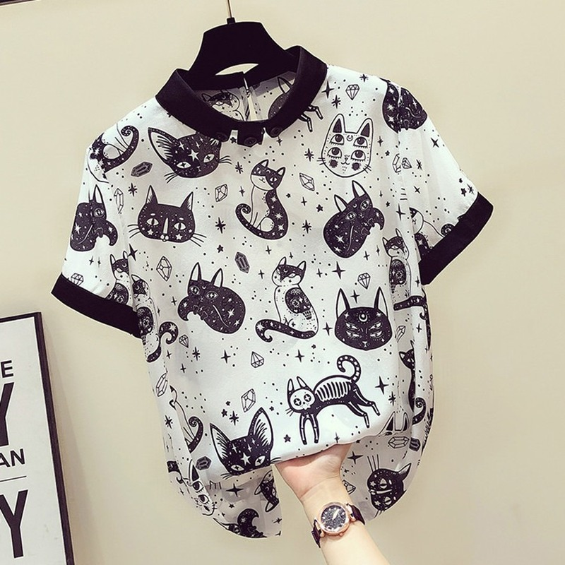 2020 Cute Cat Print Shirts Women Harajuku Gothic Kitten Short Sleeve Loose Blouse Fashion Summer Street Casual Femme Shirt Black