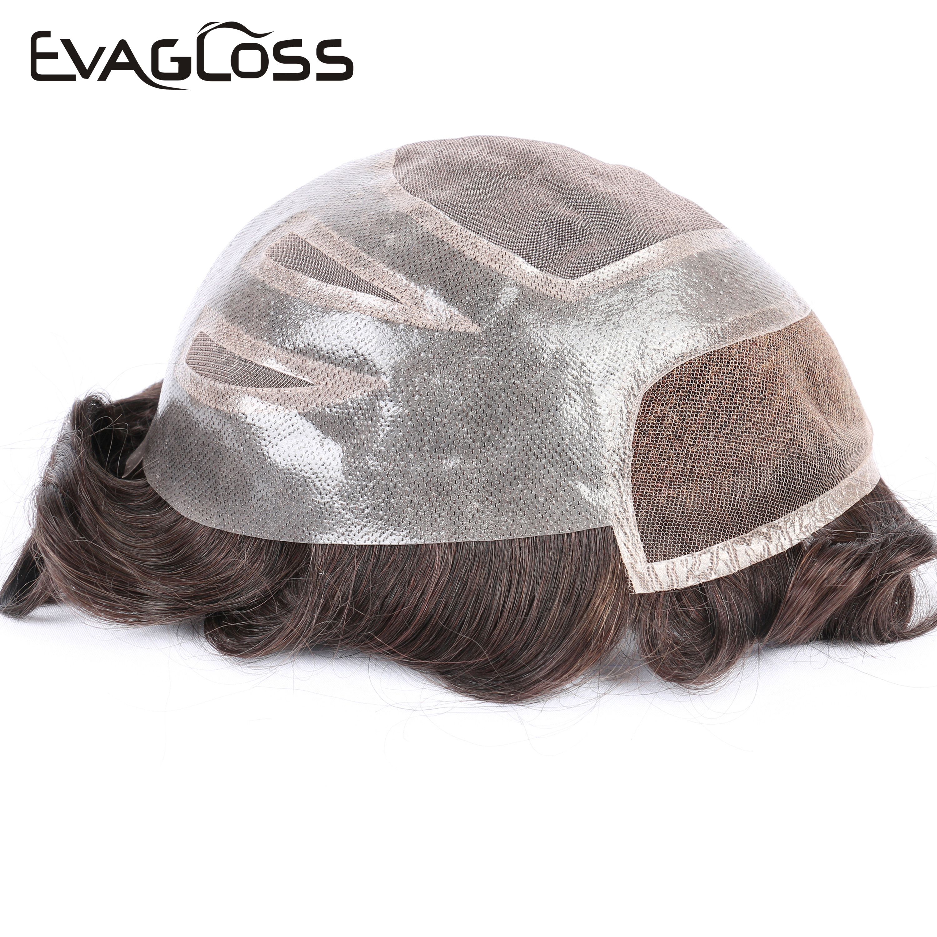 EVAGLOSS VERSALITE Style Indian Human Hair Swiss Lace Mono Men Wig Hair Toupee For Men Real Human Hair Pieces Replacement System