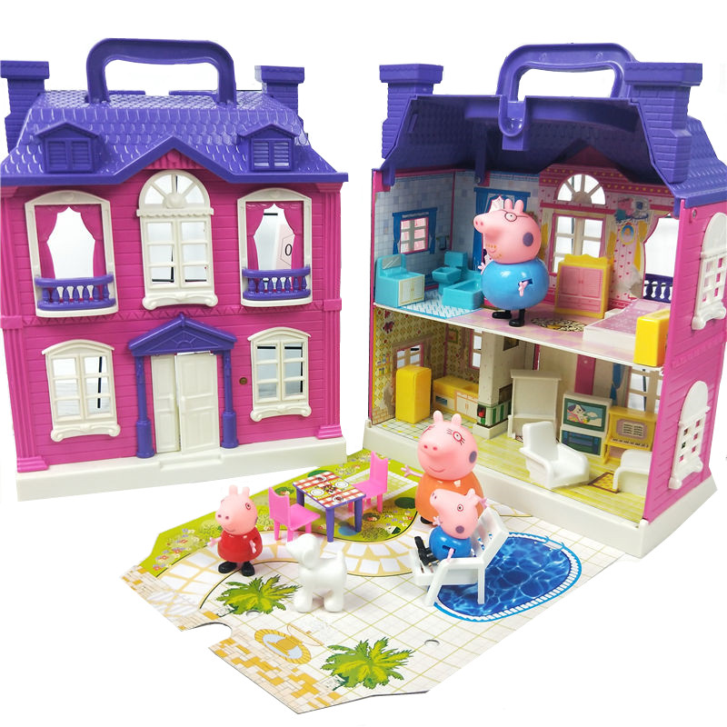 Peppa Pig George Peggy Family Four Sets Toy House Action Figure Child Anime Lighting Toys DIY Castle Children's Birthday Gifts