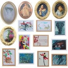 1:12 cuadro de pared con marco Vintage para casa de muñecas, casa de muñecas, sala, dormitorio, muebles, decoración, juguetes en miniatura de resina