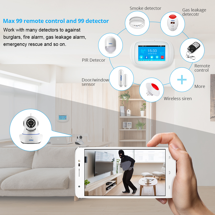 Image 5 - KERUI 4.3 inch TFT Color Screen Wireless Security Alarm WIFI+GSM Alarm System PIR Motion Sensor Door Sensor-in Alarm System Kits from Security & Protection