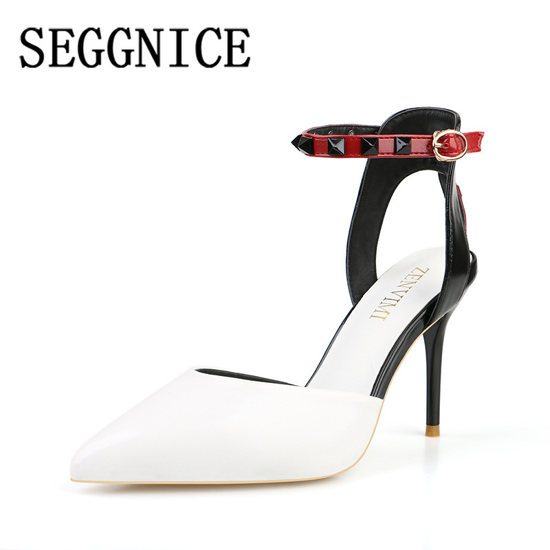 Women 39 s Shoes Rivet Summer New 2019 Pumps Designers Ankle Strap Ladies Casual High Heel Sandals Wedding White Shoes Woman in Women 39 s Pumps from Shoes