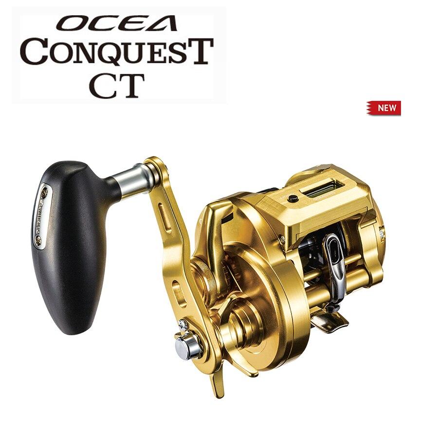 2018 nova shimano ocea conquista ct display digital carretel de pesca 300pg 301pg 301hg roda de