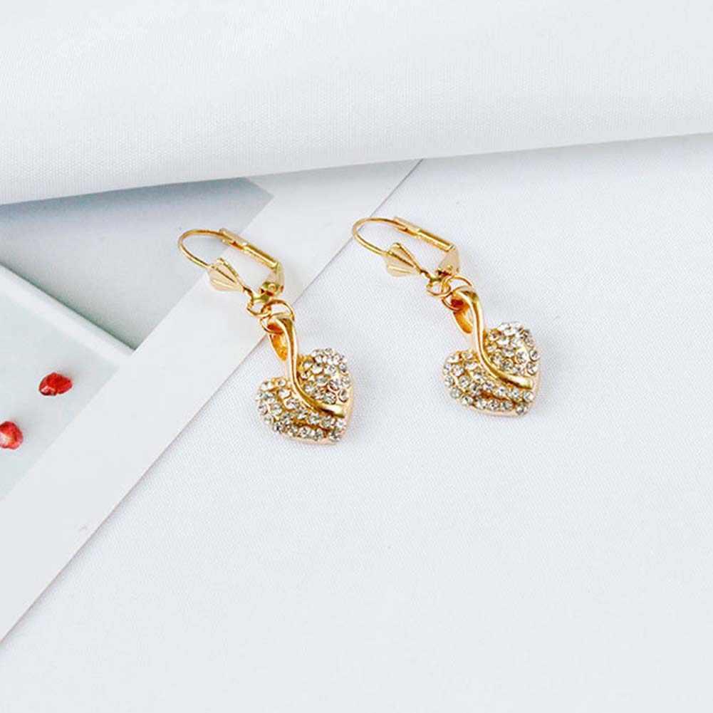 BLUELANS 2 יח'\סט נשים קסם לב שרשרת עגילי תכשיטי סטי זהב סגסוגת ריינסטון אופנה תכשיטי מתנה 2019
