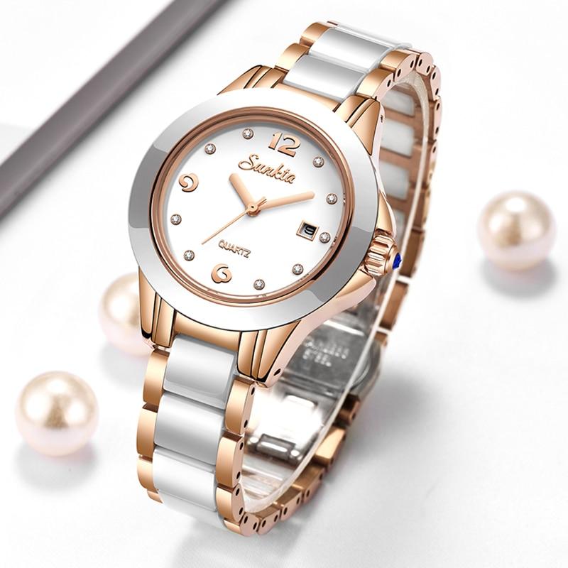 LIGE Brand Sunkta Women Watch 2020 Fashion Ladies Ceramic Wrist Watch Women Dress Watches Stainless Steel Waterproof Date Clock