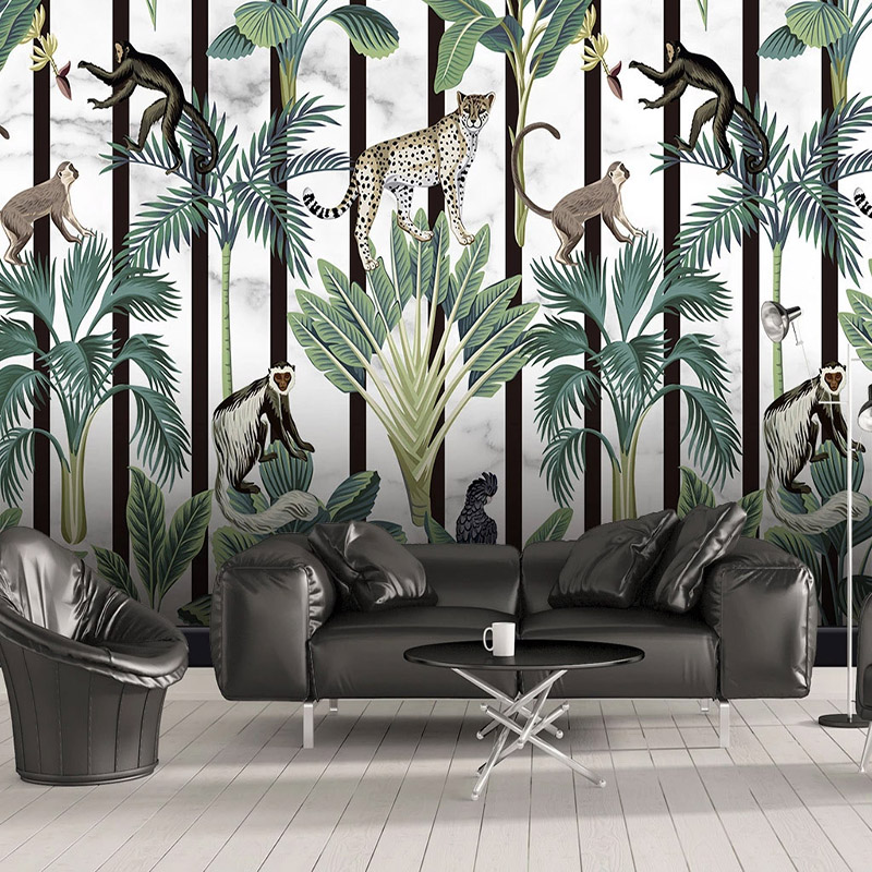 Custom Photo Tropical Rainforest Animal Monkey Mural Wallpaper Modern Living Room Bedroom Background 3D Wall Papers Home Decor